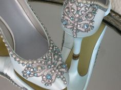Blue Butterfly Bridal Heels Wedding Shoes  Any by BeholdenBridal, $215.00