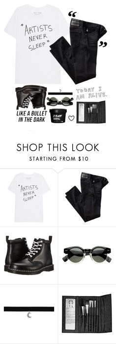 """""""Life imitates art"""" by pixlestan ❤ liked on Polyvore featuring AG Adriano Goldschmied, Dr. Martens and Sephora Collection"""