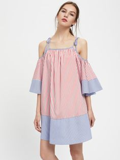 SheIn offers Tie Shoulder Striped Flute Sleeve Dress & more to fit your fashionable needs. Women's Fashion Dresses, Girl Fashion, Casual Dresses For Women, Girls Dresses, Woman Silhouette, Latest Dress, Cute Woman, Sleeve Styles, Dresses With Sleeves