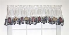 Country Birdhouses ruffled valance window curtain is an attractive ruffled valance window treatment with solid white color curtain body adorned with a colorful country birdhouses print ruffle, perfect for kitchen curtains or bathroom windows. Valance Window Treatments, Window Curtains, Window Toppers, Buy Windows, Bathroom Windows, Discount Curtains, Kitchen Curtains, Bird Houses, Rustic