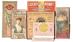 "Chewing Gum Boxes | Antique Advertising Value and Price Guide ""Shown in the picture are a group of six early chewing gum boxes. Includes: Lucky Penny; California Fruit; Adam's Yucatan; Adam's Sweet Fern; Lange's; and Bullseye"""
