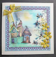 'Pixie Village' card. Imagination Craft's - Leaf stamp. Pearly paint palette & Vintage paint palette. Magi-bond glue. Jade Sea Detail Sparkle. Brusho Paints. Flower die - Memory Box. Die-versions crochet die. Lavinia stamps - Pixie Houses. July 2015.