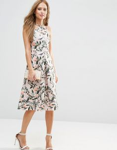 ASOS Structured Midi Dress in Bird and Floral Print