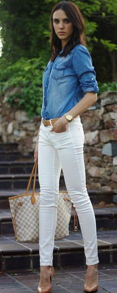 White jeans, denim and tan