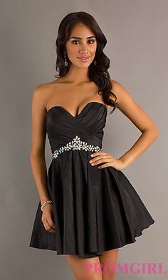 Short Strapless Black Dress by Alyce Designs 4250 at PromGirl.com