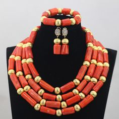 >> Click to Buy << 2016 Fashion Orange 4 Rows African Coral Beads Jewelry Sets Indian Jewelry Sets Bridal Necklace Jewelry Sets Free Shipping CJ788 #Affiliate