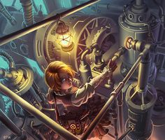 Steampunk is an art genre I have recently been fascinated by as the style of art reminds of two things - Final Fantasy IX and the Japanese animation Grenadier. Steampunk Kunst, Steampunk Artwork, Steampunk Wallpaper, Steampunk Airship, Steampunk Fashion, Steampunk Illustration, Steam Punk Jewelry, Goth Art, Dieselpunk