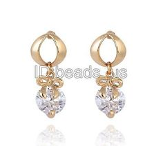 Fashion Women Jewelry Cubic Zirconia 18K Gold Plated Brass Drop Earring 22mm