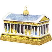 Greek Parthenon Glass Ornament  border=