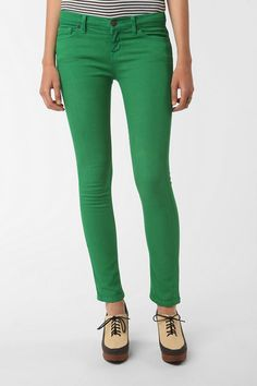Green skinny jeans for under my leopard sheer overlay from Cliche.