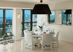 Black ceiling lamp for white modern dining room