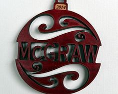 Personalized Custom Wood Christmas Ornament 2014 from Solid Red Maple