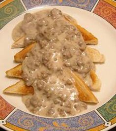 Army SOS Creamed Ground Beef Like biscuits n gravy but with beef n toast beef kabob recipes; Beef Dishes, Food Dishes, Main Dishes, Sauce Hamburger, Hamburger Gravy Recipe, Beef Gravy, Onion Gravy, Hamburger Recipes, Meat Recipes