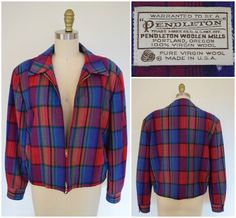Nothing says vintage Americana like a plaid Pendleton jacket! This 1950s-style rockabilly plaid tartan Ricky jacket in pure virgin wool can be dated as early as the mid 1960s to early 1980s as shown by the wool mark on the label. Wool marks were not used by Pendleton until 1964 to guarantee the high quality of their natural wool products. This bomber style jacket is in excellent condition-- no flaws to note and appears hardly worn at all. Shop Glory Train on Etsy.