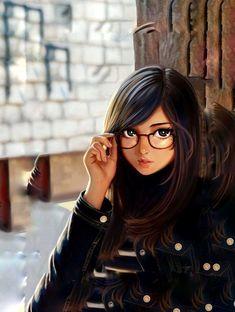 Cute Cartoon Pictures, Cute Cartoon Girl, Cute Love Cartoons, Anime Girl Cute, Kawaii Anime Girl, Anime Art Girl, Cartoon Art, Digital Art Anime, Digital Art Girl
