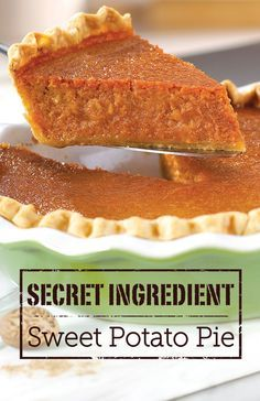 What makes this Sweet Potato Pie richer and more flavorful than the rest? The secret ingredient is a can of tomato soup. Try this recipe out, and you'll see! What makes this sweet potato pie richer and more flavorful than the rest is a Köstliche Desserts, Delicious Desserts, Dessert Recipes, Yummy Food, Pumpkin Recipes, Pie Recipes, Cooking Recipes, Recipies, Sweet Potato Recipes