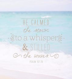 They cried out to the Lord in their trouble, and he brought them out of their distress. He calmed the storm to a whisper; and stilled the waves. They were glad when it grew calm, and he guided them to their desired haven. -Psalm 107:29-31