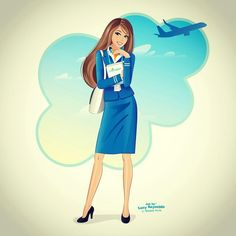 KLM Cityhopper stewardess drawing @lucyreynoldsart