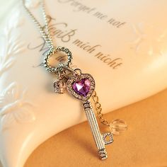 2017 Fashion Jewelry Purple Crown Key Pendant Necklace Natural Teardrop Jewelry Rose Gold Color