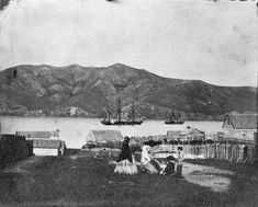 In one of the earliest photographs of Wellington, around a group of women and children gather in Thorndon's Hobson Street. The denuded hill in the background is Mt Victoria. Art History, New Zealand, Dolores Park, Victoria, Street, Photographs, Travel, Group, Image