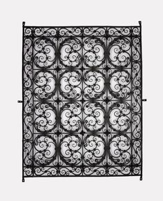 Wrought iron window grille with banded scrolls in oblong compartments: Italian, first half of the century. Iron Windows, Wrought Iron, Precious Metals, 18th Century, Metal Working, Sculpture, Glass, Artwork, Sculptures