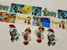 2 Yds, 4 Resin Mix. Lot  Pinocchio/ Jiminy Cricket Inspired Ribbon & Resin #Unbranded