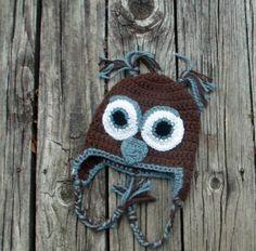 """Hootie"" the Crocheted Owl Hat"