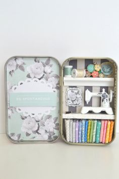 Tiny Tin Sewing Room  Be Spontaneous by TeaRoseCompany on Etsy