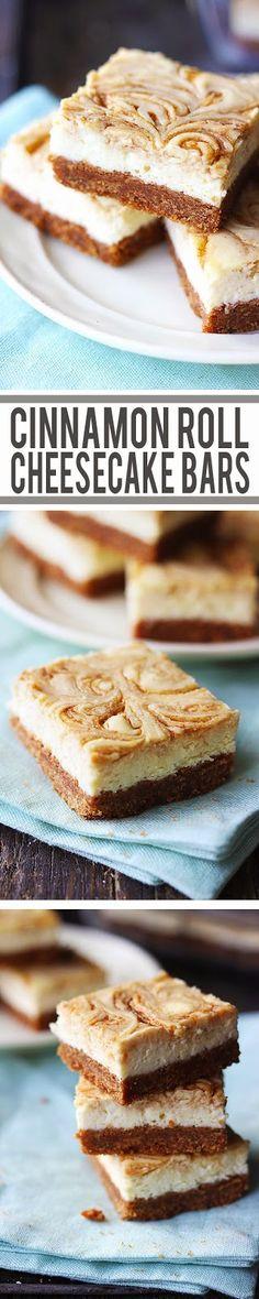 Cinnamon Roll Cheesecake Bars - New York-style cheesecake bars with a thick graham cracker crust and cinnamon swirl!