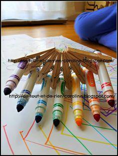 De tout et de rien: Activités pour le Préscolaire: Easy DIY tool to make rainbow drawings with markers - Outil de bricolage pour faire des dessins arc-en-ciel avec des marqueurs