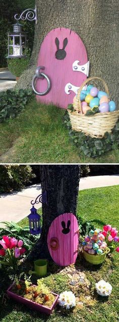 2. Decorate the garden tree with bunny door - Top 27 Cute and Money Saving DIY Crafts to Welcome The Easter