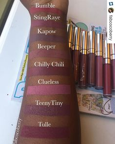 More @colourpopcosmetics comparisons by @fabcocoberry 😍😍 love it! #CocoaSwatches #Repost ・・・ Meet the nudes! So I filmed my top 4 @colourpopcosmetics nude liquid lipsticks on dark skin (Link in bio). But you guys wanted to see ALL the nudes side by side. This is all I have, so I really Hope this helps!! Have a great weekend everyone. No filter and natural light. ❤️🤗 @cocoaswatches #colorpopme #colorpopcult @colourpopcult #spencebeautydepot #lipdrama @lipdrama #bumble #kapow #beeper…
