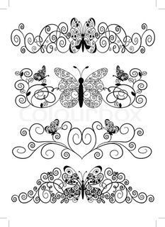 Free Quilling Patterns Online | Vector of 'illustration pattern from spirals butterfly and sheet'