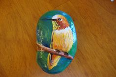 Hummingbird Rock Handpainted by MJBousquet on Etsy, $18.00