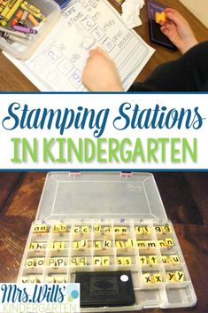 Having a kindergarten stamping station has always been a fun treat for my students! This is a great literacy center and a math station. Check out these ideas on how to make one for your classroom! Kindergarten Centers, Kindergarten Classroom, Classroom Decor, Classroom Organization, Literacy Stations, Literacy Centers, Learning Stations, Work Stations, Reading Centers