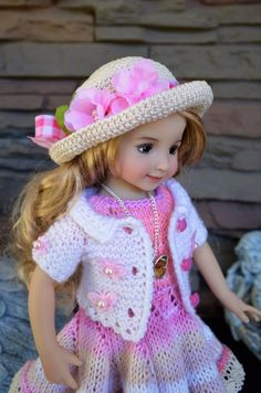 "Dianna Effner 13"" Little Darling OOAK Hand Knit 4 pc OUTFIT for Summer Wear #DiannaEffner"