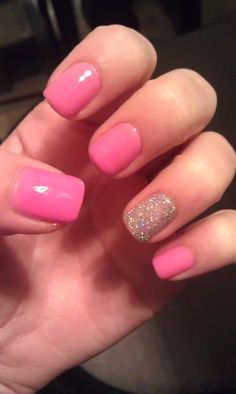 My new year's nails! :D barbie pink <3