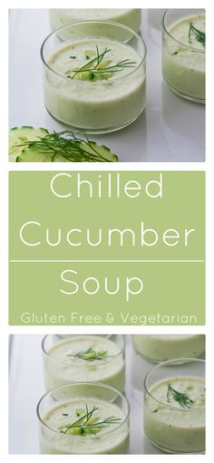Chilled cucumber soup with yogurt is a light and refreshing, no-cook soup. It's also gluten free and vegetarian.