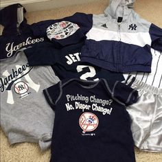 Yankees baby clothing Assorted Yankees baby clothing, onesies, hat, jackets etc. all in good condition, some slight staining on Yankees hoodie (top left) on white Yankees logo. Assorted sizes, 3/6 months to about 2T. Please feel free to use the make offer button, no trades, thanks. Yankees  Tops