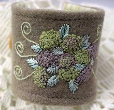 Hydrangea Fiber Wrist Cuff Hand Embroidered Bracelet by Waterrose, $82.00