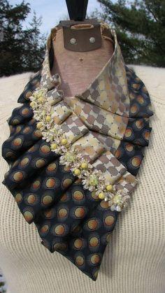 NEW - Silk Ascot - Necktie Ascot - Ladies Ascot - Ruffled Scarf - Refashioned Necktie - Silk Collar - OOAK necktie accessorie - Tissu Neoprene, Necktie Quilt, Steampunk Accessoires, Old Ties, Head Scarf Tying, Tie Crafts, Ruffle Scarf, Fabric Necklace, Leather Flowers