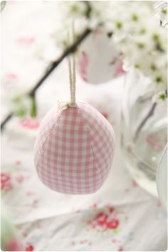 pale pink gingham ornament Green Christmas, Christmas Themes, Christmas Bulbs, Tartan Decor, Tartan Plaid, Pink Palace, Easter Colors, Pink Gingham, Pink Tulips