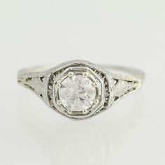 Art Deco Diamond Engagement Ring - 18k White Gold Solitaire .72ct