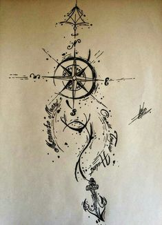 ▷ 142 + inspiring ideas and images on the theme of Compass Tattoo! - a black compass and anchor idea for a great compass tattoo that you may like very well You are in t - Sketch Tattoo Design, Tattoo Sketches, Tattoo Drawings, Body Art Tattoos, New Tattoos, Sleeve Tattoos, Tattoo Designs, Tatoos, Pirate Tattoo Sketch
