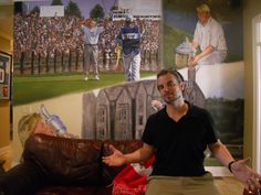 Pro Golfer John Daly Arkansas Mural painted for the Golf Channel