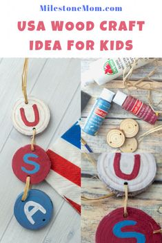 Discover this of July themed wood craft idea for kids! Arts And Crafts Projects, Wood Crafts, Crafts For Kids, Paper Crafts, Woodworking Projects For Kids, Diy Woodworking, Wood Burning Tool, Handmade Wooden Toys, Wood Circles