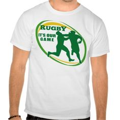 "Rugby player tackle fending ball tee shirt. illustration of a Rugby player running fending off tackle with ball shape in background and words ""rugby it's our game"". #illustration #Rugbyplayer #rwc #rwc2015 #rugbyworldcup"