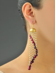 https://www.bkgjewelry.com/ruby-rings/203-18k-yellow-gold-diamond-ruby-solitaire-ring.html Chandelier Assymetry Ruby Earrings
