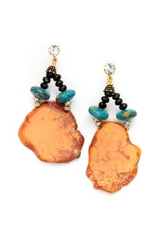 Rondelle and Stone Drop Earrings