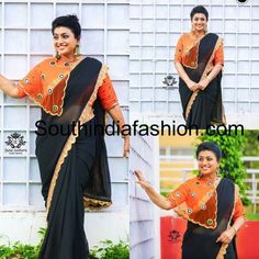 Roja in black saree orange cape blouse Popular Actresses, Western Look, Black Saree, Couture Outfits, Orange Blouse, India Fashion, Traditional Outfits, Blouse Designs, Sarees